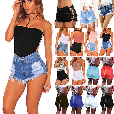 Womens Distressed High Waist Skinny Denim Shorts Jeans Hot Pants Lace Up Trouser