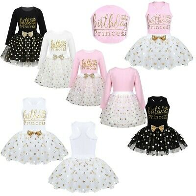 Infant Baby Girls Birthday Princess Outfit Party Clothes Tops +Polka Dots Skirt