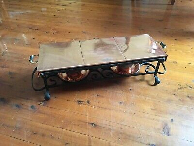 Antique Copper food warming tray with wrought iron base by 'Townshends Ltd'