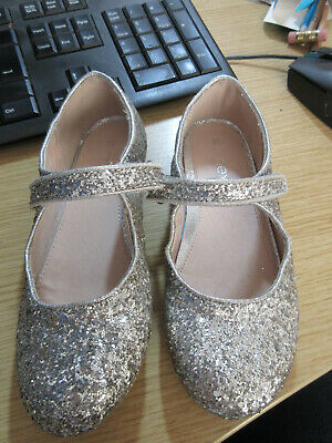 Next Girls Party Shoes, Silver Sparkly, U.K. Size 11, excellent Condition