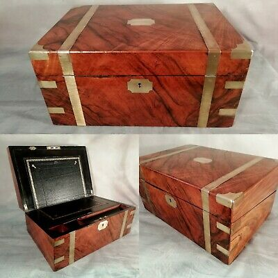 Stationary Cabinet Antique Victorian Walnut Ships Campaign Writing Slope c1850
