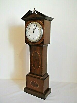 ANTIQUE MINIATURE INLAID LONGCASE CLOCK, GRANDFATHER CLOCK, MANTLE CLOCK in VGC.