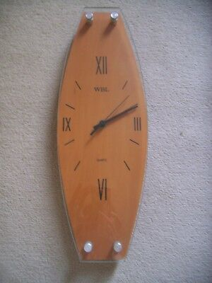 WBL Retro wooden and glass wall clock - excellent working order