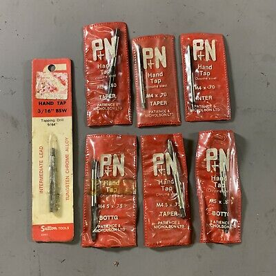 LOT x7 VINTAGE NEW OLD STOCK P&N / SUTTON METRIC TAPS M4 - M5 MADE IN AUSTRALIA