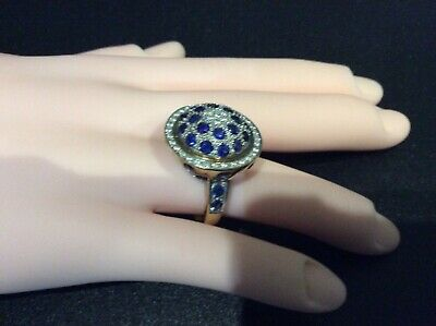 Antique cocktail bombe Ring size O 18 carat gold with diamonds sapphires