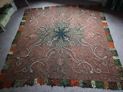 antique early Victorian Rumal shawl hand woven embroidered Kani Kashmir