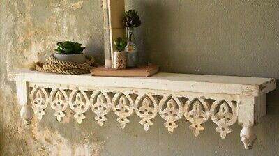 Rustic Distressed Antique White Wood Shelf Wall Mound Hand Carved Details
