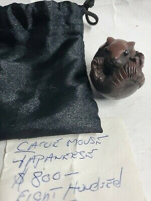 An Antique Japanese Inlaid Netsuke Signed Mouse Hand Carved - VERY RARE!