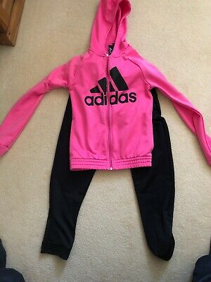 Girls Adidas Hooded Tracksuit Pink 11-12yrs