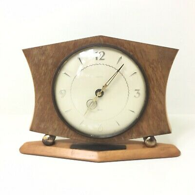 Vintage 1950s Smiths MCM Mid Century Smiths 8 Day Floating Balance Wood Clock