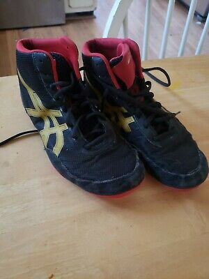 Asics JB Elite V2.0 Men Black Red Gold Wrestling Shoes J501N Size 7 1/2