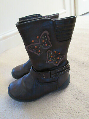Tu size 9 childrens brown boots with butterflies in good condition