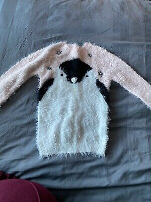 PRIMARK YD girls pink fluffy knit penguin jumper AGE 7-8Yrs