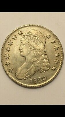 1829 capped bust Silver half dollar XF-AU Lettered Edge Beautiful Coin