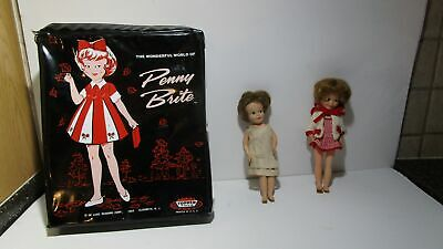 1964 Penny Brite case with 2 dolls Topper toys Deluxe Reading