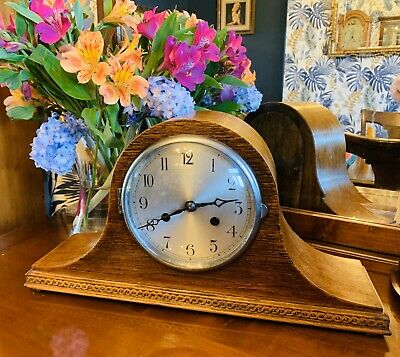 Great looking 1930's Oak cased English 8 Day Napoleon hat clock