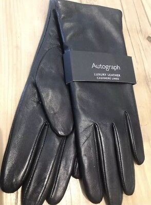 Marks & Spencer BLACK Leather CASHMERE Lined Ladies Gloves BNWT LARGE M&S Gift