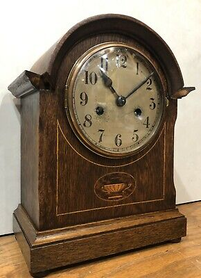 German Badische Oak Marquetry Inlaid Black Forest Mantel Table Shelf Clock