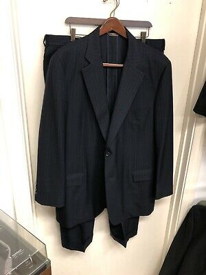 Paul Stuart Suit Size 46L Pants Size 38x30 Navy Blue Pinstripes Wool J-244