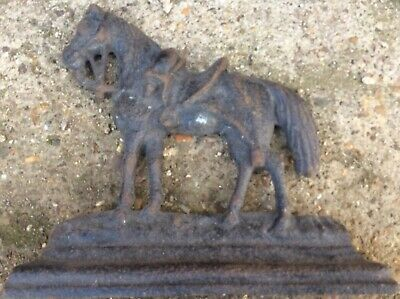Antique Cast Iron Door Stop Book End Horse Equestrian Interest Country Farming