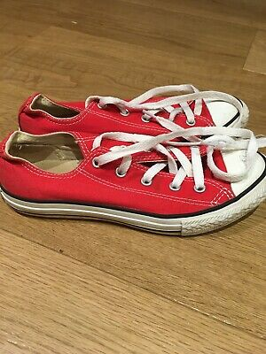 Red Converse All Star shoes. Size youth UK 2