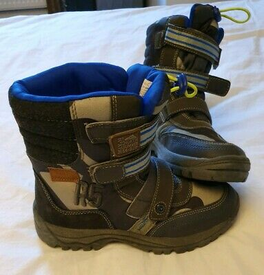 NEXT kids boys UK size 3 water resistant winter snow boots BLUE lined warm