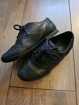 Geox Respira Girls Black Laces School Shoe Brouges Size 11 Euro 29