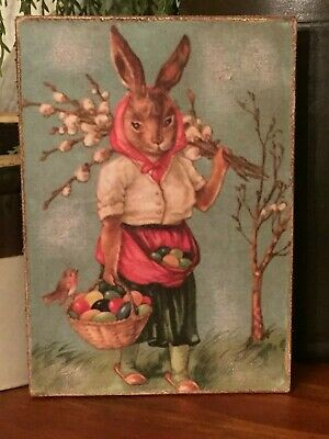 Primitive Vintage Easter Rabbit Chick Egg Wheelbarrow Print on Canvas Board 5x7""