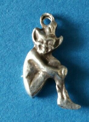 Antique Victorian Sterling Silver Lucky Pixie Sprite Charm Pendant.