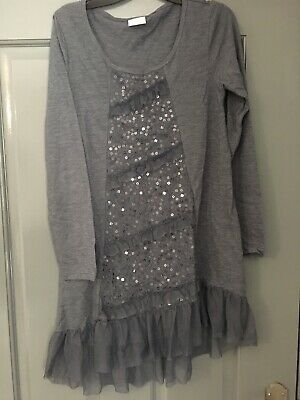 NEXT BNWOT Pretty Grey Long Smock Top Age 11 Years Excellent Condition Sequins