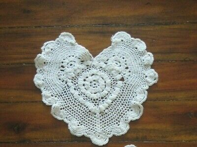 Vintage Crocheted Heart Doily Handmade Rose Scallop Edge Dollies 5 Dollar Deals