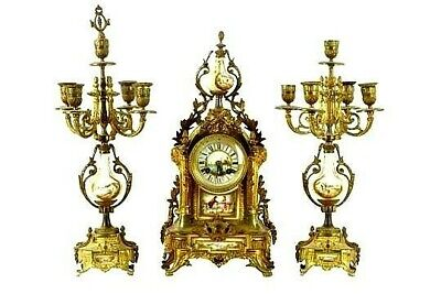 Spectacular Antique French Sevres Gilt Brass Clock Set Or A Hospital Nurses Fund