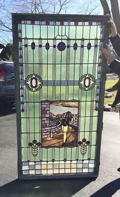 GIANT Antique HISTORICAL  STAINED LEADED WINDOW needs Restoration