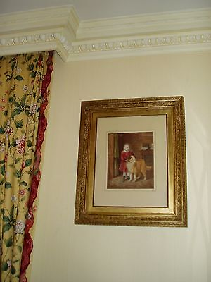 """LARGE ANTIQUE 19th VICTORIAN GILT FRAMED WATERCOLOUR MONOGRAMMED DOG  26"""" X 22"""""""
