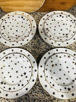 American Atelier Party Time Lot 8 Fine China Dinner Plates Salad C&R Gold Stars