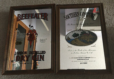 Vintage Beefeater Gin and Southern Comfort Mirrors Bar Man Cave