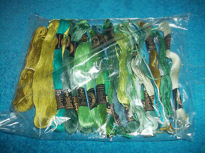 Anchor - Selection Of Green Sewing / Embroidery Threads, Cross Stitch Thread