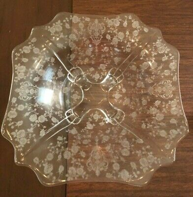 Vintage Cambridge Crystal shallow 4-footed Rose Point Crown Serving Bowl Square