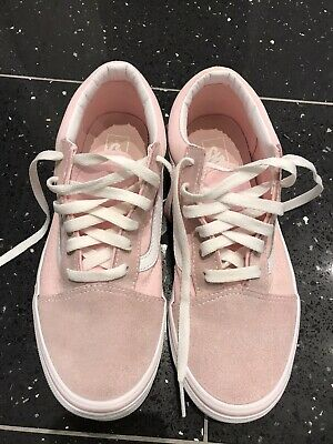 Girls Vans - Suede Old Skool Shoes Pink/white - Size 4.5