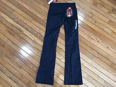 NWT DICKIES 0 Girl Junior The Worker Mid Rise Boot Cut Pocket Pants Navy (T7-19