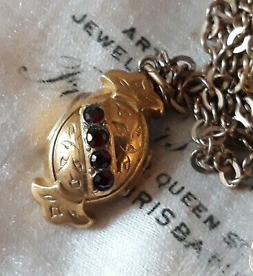 Antique Victorian Rolled Gold Garnet Pendant Charm FREE Chain!