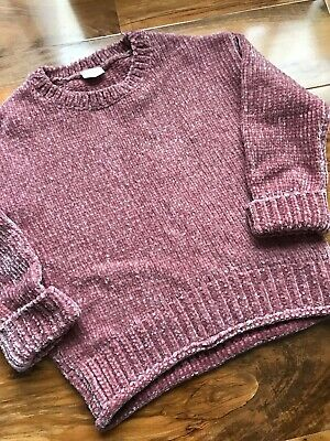 Girls F&F Pale Pink Chunky Knit Silky Soft Jumper 6-7 Years