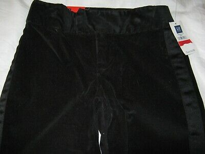 Rrp€40 Gap Girls Black Velvet Style Party Trousers Age 6 Brand New With Tags