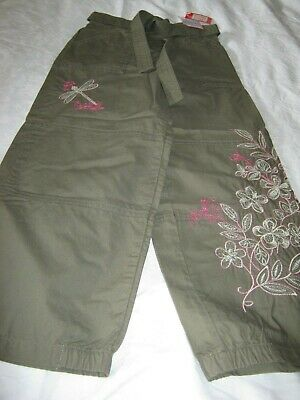 Marks & Spencer M&S Rrp£17 Girls Khaki Green & Pink Trousers Age 6 New With Tags
