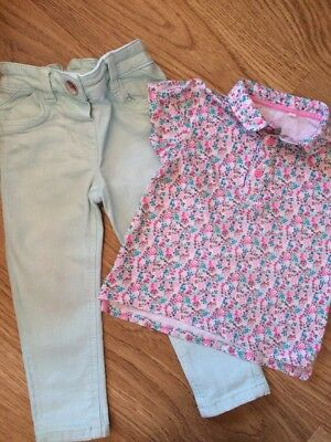 Girls Outfit from NEXT, Age 2-3 Years Coloured Jeans with Matching T-shirt