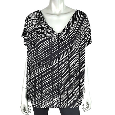 Premise Womens Draped Top Plus Sz 2X Striped Pullover Short Sleeve Stretch