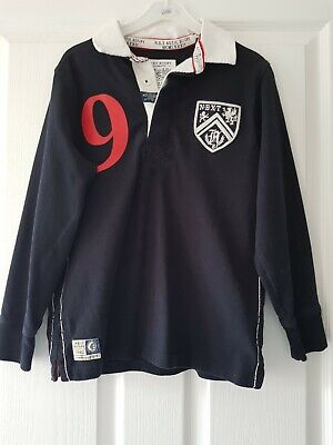 Boys Next Navy Blue Rugby Shirt Age 9 Years Top Condition