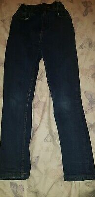 Boys  dark blue jeans by River Island age 10 skinny adjustable waist
