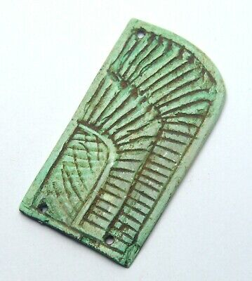 Circa 500Bce Ancient Egyptian Glazed Faience Green Pendant Amulet Ornament