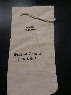"""Vintage Canvas Money Bag  Bank of America  N.T. & S.A.  approx 12""""x6"""""""